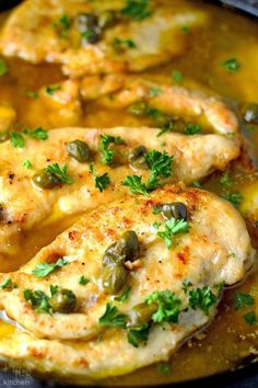 Chicken Piccata Recipe- A chicken dish that is sautéed in butter and olive oil then served in a sauce with capers, lemon juice, butter, olive oil, and chicken stock. | flipflopkitchen.com