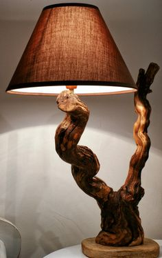 Do You Like To Have A handmade Wooden Lamp? - sevtap gurcay - - Do You Like To Have A handmade Wooden Lamp? Wooden Lamp, Wooden Diy, Handmade Wooden, Wooden Tables, Driftwood Lamp, Driftwood Crafts, Lamp Design, Wood Design, Red Lamp Shade