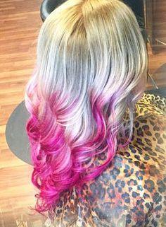 Blonde to Dark Pink Ombre using Pravana hair dye ~ via