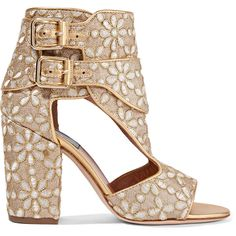 Laurence DacadeRush Cutout Brocade Sandals ($800) ❤ liked on Polyvore featuring shoes, sandals, gold, block heel shoes, flower print shoes, block heel sandals, floral shoes and brocade shoes