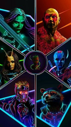 Guardian of the Galaxy Characters:Marvel Neon Potraits Painting