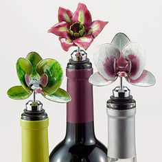 Keep open bottles of wine fresh with nature-inspired Flower Cloisonne Bottle Stoppers. These are so adorable #WorldMarket