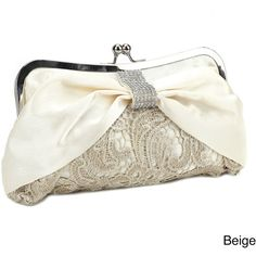Diamante Satin Bow Lace Evening Bag (£16) ❤ liked on Polyvore featuring bags, handbags, clutches, purses, evening clutches, special occasion handbags, man bag, handbag purse and evening handbags clutches