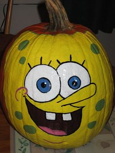 "Share this on WhatsAppFrom one ""yellow"" to another yellow birthday party theme. While I was writing my compilation of Minion Birthday Party Ideas, I can't [. Spongebob Pumpkin, Spongebob Face, Halloween Kids, Halloween Pumpkins, Halloween Decorations, Halloween 2017, Fall Decorations, Halloween Stuff, Halloween Costumes"