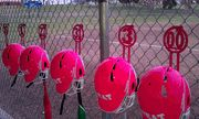 Metal organizer for softball and baseball. Holds Bat, Helmet and glove on chain link fence in Dug out, Bat hanger, Bat and Helmet Hanger, Bat Hook. Softball Dugout, Softball Helmet, Softball Party, Softball Bags, Softball Drills, Softball Crafts, Baseball Boys, Girls Softball, Softball Team Gifts