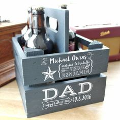 Personalised Wooden Beer Holder by Letterfest, the perfect gift for Explore more unique gifts in our curated marketplace. Hampers For Men, Beer Hampers, Gift Hampers, Gift Baskets, Diy Father's Day Crafts, Father's Day Diy, Fathers Day Crafts, Gifts For Beer Lovers, Beer Gifts