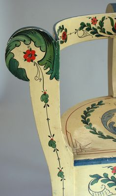 One of a pair of three-legged chairs painted by Per Lysne for the Cottage at Ten Chimneys, ca. 1933.