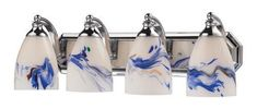 ELK Lighting 570-4C-Mt Four Light Vanity In Polished Chrome And Mountain Glass