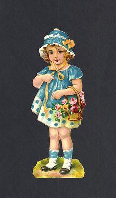 Niña con canasto de flores. Figurita alemana de principios del 1900, 16 cm. de alto.