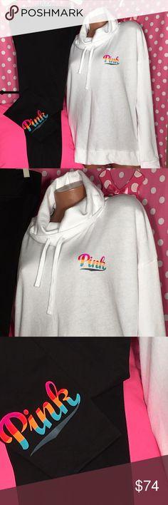 VS Pink rainbow legging sweatshirt set White cowl sweatshirt sweatshirt ultimate yoga legging rainbow  set new in package Sz large PINK Victoria's Secret Sweaters Cowl & Turtlenecks
