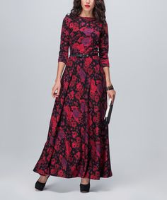 Look what I found on #zulily! Black & Red Floral Three-Quarter Sleeve Maxi Dress #zulilyfinds