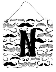 Letter N Moustache Initial Wall or Door Hanging Prints CJ2009-NDS66