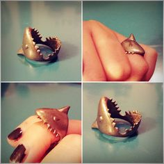 Vintage shark bite ring! Oh my freakn god this is adorable!