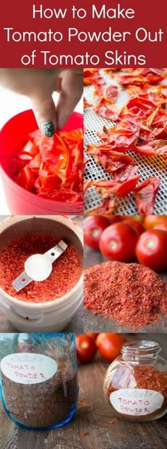 to Make Tomato Powder From Tomato Skins You'll never waste tomato skins again with this easy recipe to make tomato powder and tomato flakes.You'll never waste tomato skins again with this easy recipe to make tomato powder and tomato flakes. Homemade Spices, Homemade Seasonings, Dehydrator Recipes, Snacks Für Party, Fruits And Veggies, Vegetables, Diy Food, Food Food, Food Hacks