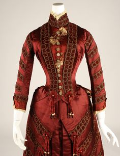 """Ensemble (Two Bodices by Different Makers): 1879, French, silk, glass beads. Marking: [label] """"Leroyer & Ducas/27 Boul. Haussmann, Paris"""""""