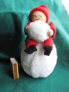 Vintage Swedish Wood Christmas Gift Doll Elf Gnome Santa Tomte Sweden 1989