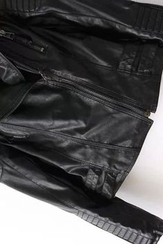 Black Faux Leather Quilted Sleeves Moto Jacket