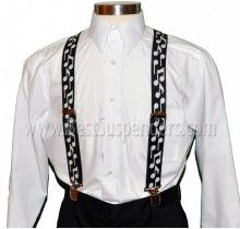 Music Suspenders - Bold Notes - Black