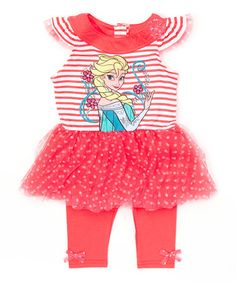 Another great find on #zulily! Pink Frozen Ruffle Tunic & Leggings - Girls #zulilyfinds