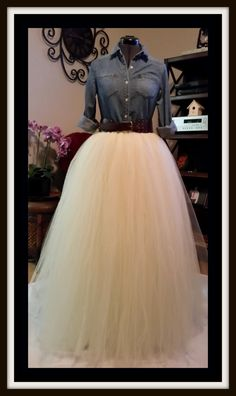 Custom Made Adult  Ivory Tulle Tutu Style Maxi-Floor Length Skirt for brides maid dress, prom, party, portraits by BaroKids on Etsy