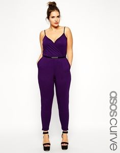 ASOS Curve Plus Size Cami Wrap Jumpsuit With Belt - Deep purple