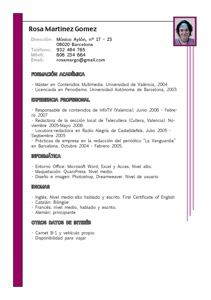 Modelo Currículum Vitae Cronológico