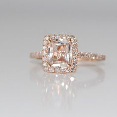 18ct Cushion peach champagne sapphire in 14k rose by EidelPrecious, $1,700.00