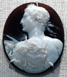 Sardonyx cameo portrait of the Emperor Augustus. Period: Early Imperial, Claudian Date: ca. A.D. 41–54, Roman. Medium: Sardonyx, H. 1 7/16 in. (3.7 cm). -The Metropolitan Museum of Art-