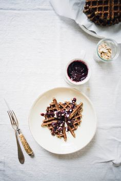 Banana buckwheat waffles with blue-barb syrup
