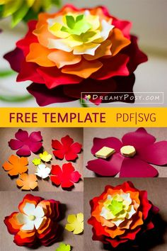 Paper flowers, easy tutorial, free template