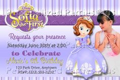 Sofia+the+First+Birthday+Party+Invitation+by+PartiesPlus+on+Etsy,+$15.00