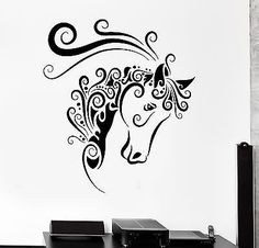 Wall Decal Animal Horse Mustang Ornament Tribal Mural Vinyl Decal (z3304)
