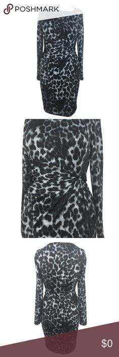 """🆕 Carmen Marc Valvo Long Sleeve Leopard Dress S Long sleeve fitted leopard print dress Asymmetric neckline Ruched at left front waist Slim silhouette  Hem hits approx. at knee Hidden back zip w/ hook & eye closure Lined Designer Color: Blue leopard Excellent Condition: Brand new Original Designer Tags Attached  Armpit to Armpit length approx.: 15 1/2"""" Dress length approx.: 35"""" Sleeves approx.: 23""""  ✅Save 10% instantly with your purchase of 2 or more items  ⛔️Price is Firm. Offers on Bundles…"""