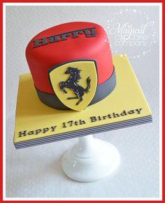 Cake: Ferrari Cake by The Magical Cupcake Company Ferrari Cake, Ferrari Party, Ferrari Logo, Happy 17th Birthday, 5th Birthday, Cake Logo, Cupcake Cakes, Car Cakes, Cakes For Boys