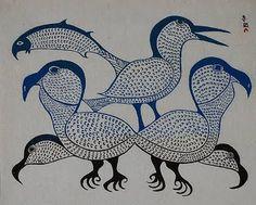 Kenojuak Ashevak 'Birds in blue'. (one of the most notable Canadian pioneers of modern Inuit art) Arte Inuit, Inuit Art, American Indian Art, Native American Art, Tlingit, Illustration Art, Illustrations, Canadian Art, Indigenous Art