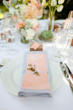 A lovely peach place setting and menu Photography by Molly, MEF Photography /, Event and Graphic Design by KT Designs /, Floral Design by Adornments Flowers / photography Wedding Menu, Wedding Events, Our Wedding, Wedding Planning, Dream Wedding, Wedding Ideas, Party Wedding, Beautiful Table Settings, Wedding Table Settings
