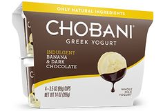 Chobani Indulgent Greek Yogurt in various flavors.  Available at most major supermarkets.