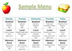 Menu Photos Printables Menus Daycares Menus Home Daycare Menu Food