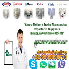 Searching for Hepatitis C, Anti Cancer or HIV medicines online suppliers from India? Engage with Chawla Medicos, the global exporters of medicines from India. Call and get a quote!