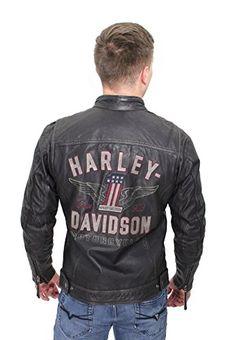 3d7ee7a91cf Barnett Harley-Davidson Harley-Davidson Mens Long Way Winged Washed Black  Leather Jacket (X-Large)