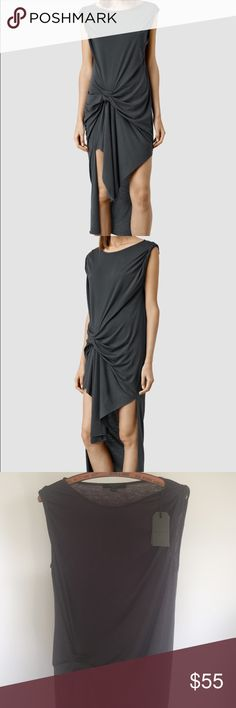 NWT all saints dress New never worn. Super soft casual fit very flattering look. Color is washed black (charcoal look) All Saints Dresses High Low