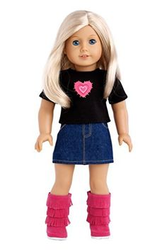 Rock Star - 3 piece outfit includes t-shirt, denim skirt and hot pink boots - American Girl Doll Clothes  Price : $18.97 http://www.dreamworldcollections.com/Rock-Star-t-shirt-American-Clothes/dp/B00CW6F2US
