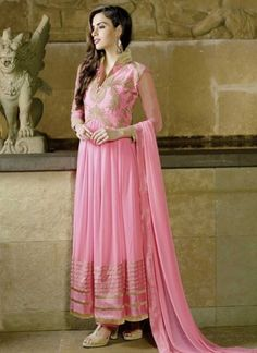 Hot Pink Faux Georgette With Embroidery Resham Work Long  Anarkali Suit http://www.angelnx.com/Salwar-Kameez/Anarkali-Suits