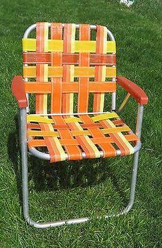 Vintage Folding Lawn Chair Aluminum Webbing Patio Webbed Orange Yellow