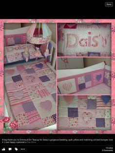 Em teacup appliqué, patchwork quilt pillow and bumper