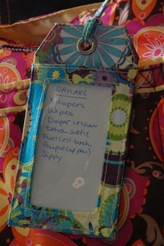 luggage tag lists/reminders for diaper bags/beach bags/travel bags/day packs