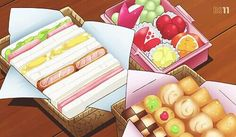 A bento of sandwiches, cookies, and fruit! Yama no Susume (Season Episode 17 Cute Food, Yummy Food, Anime Bento, Anime Gifs, Pinterest Instagram, Food Cartoon, Watercolor Food, Food Drawing, Dibujo