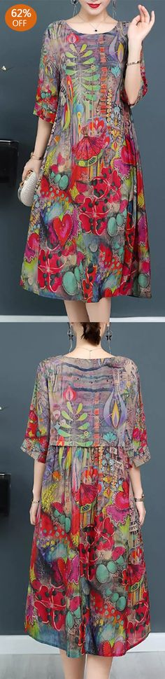 Plus Size Elegant Art Print Loose Dress