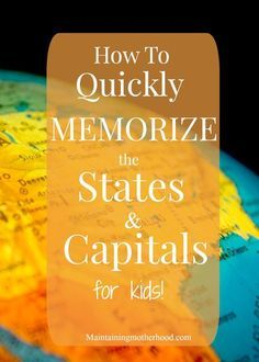 Looking for a trick to quickly memorize States and Capitals? My little kids learned and still remember them all a year later. Check out our tricks! Some kids are really smart Teaching Geography, Teaching Kids, Student Teaching, Geography Activities, Geography Lessons, Math Lessons, States And Capitals, Kids Education, Education Quotes