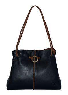 Navy Gigi Ring Detail Leather Shoulder Bag